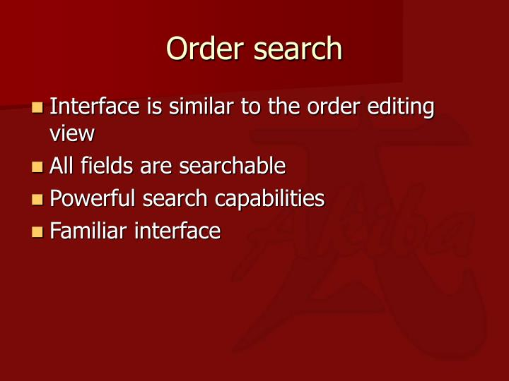 Order search