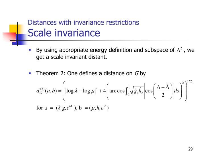Distances with invariance restrictions