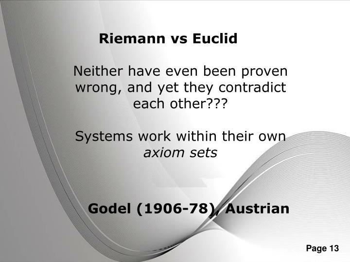Riemann vs Euclid