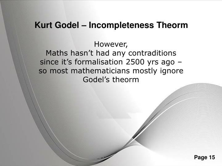 Kurt Godel – Incompleteness Theorm