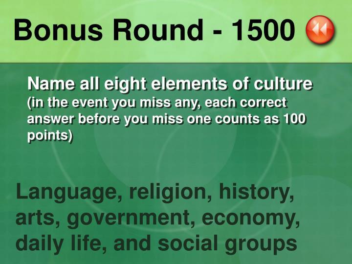 Bonus Round - 1500