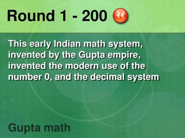 Round 1 - 200