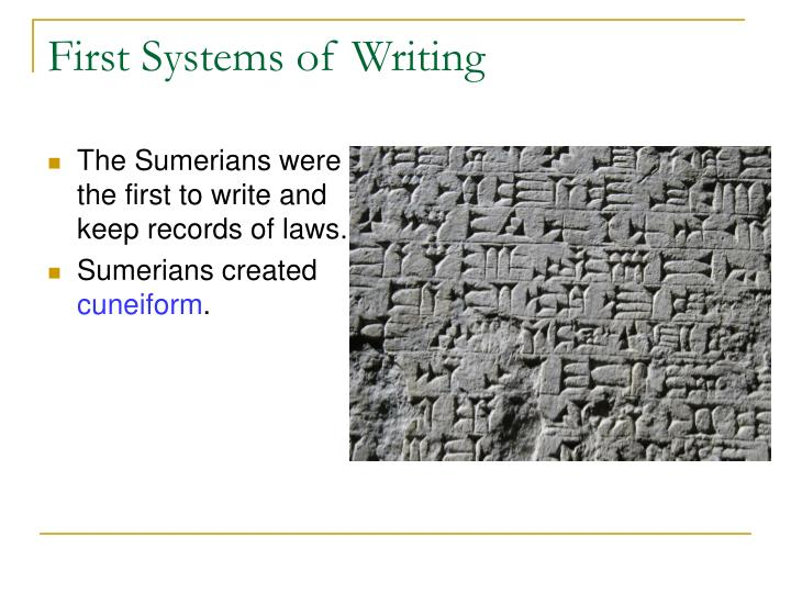 First Systems of Writing