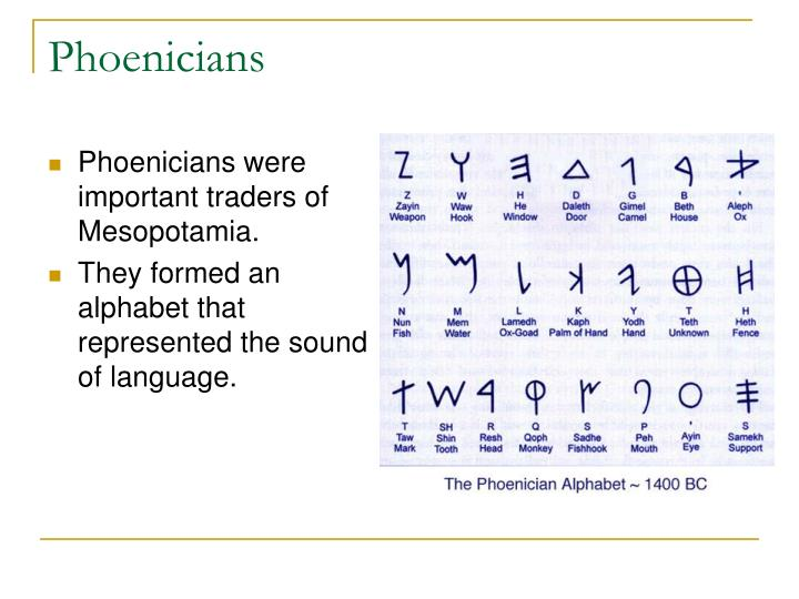 Phoenicians were important traders of Mesopotamia.