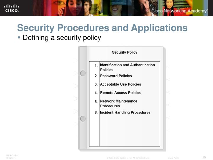 Security Procedures and Applications