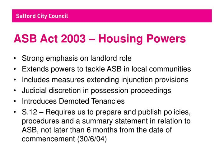 ASB Act 2003 – Housing Powers