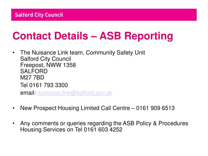 Contact Details – ASB Reporting