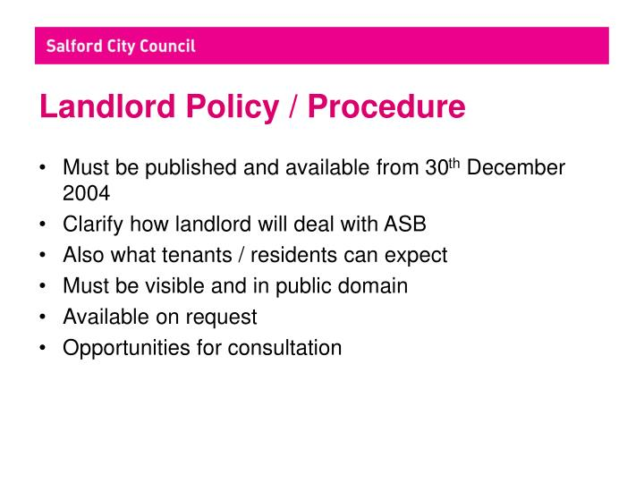 Landlord policy procedure