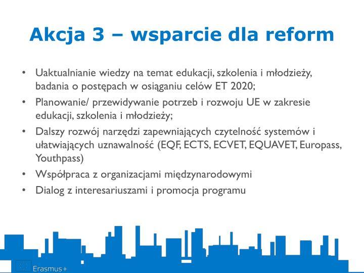 Akcja 3 – wsparcie dla reform