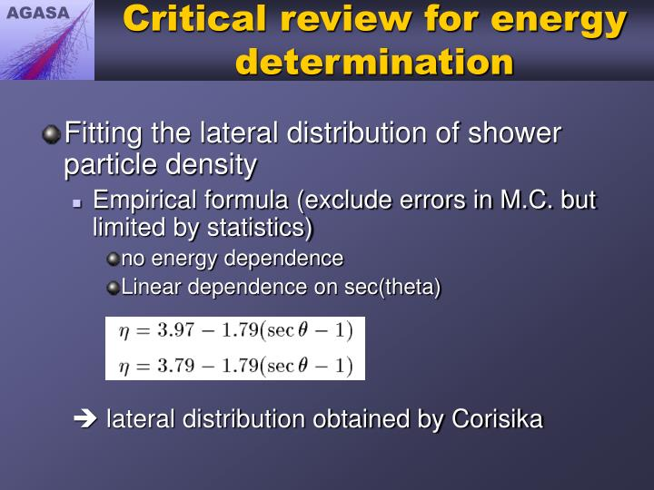 Critical review for energy determination