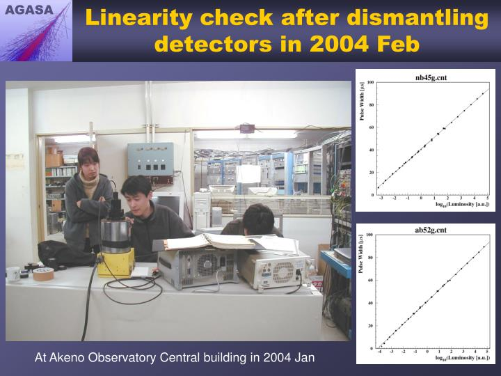 Linearity check after dismantling detectors in 2004 Feb