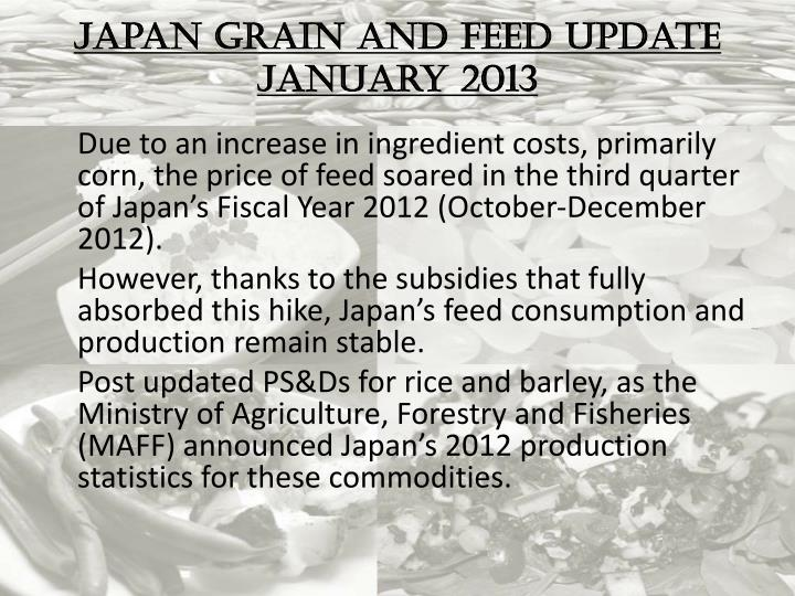 Japan Grain and Feed Update