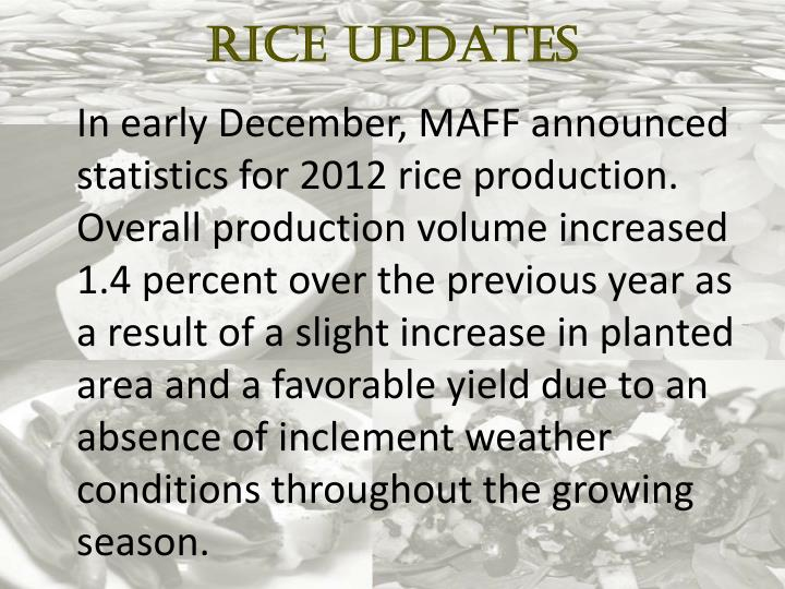 Rice Updates