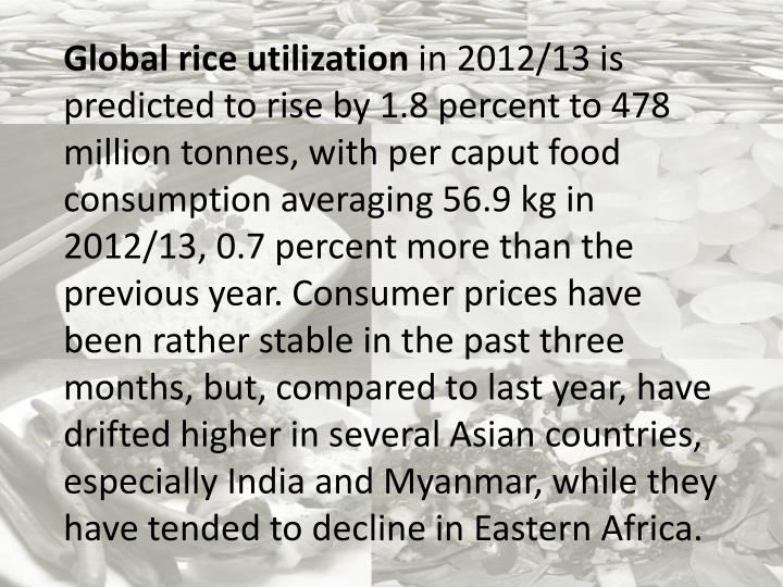 Global rice utilization