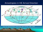 anisotropies in he arrival direction