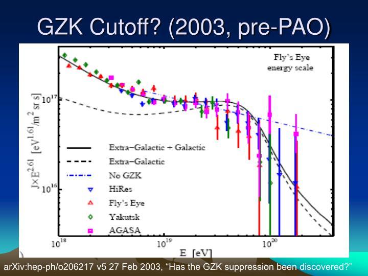 GZK Cutoff? (2003, pre-PAO)