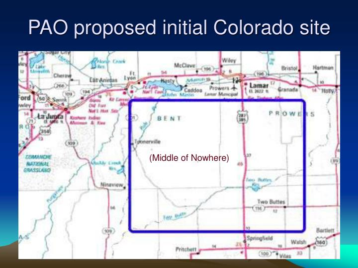 PAO proposed initial Colorado site