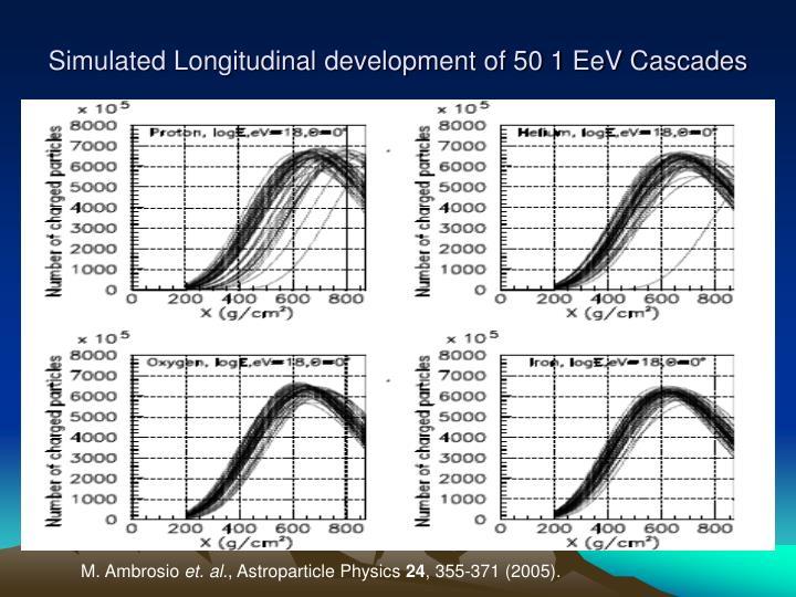 Simulated Longitudinal development of 50 1 EeV Cascades