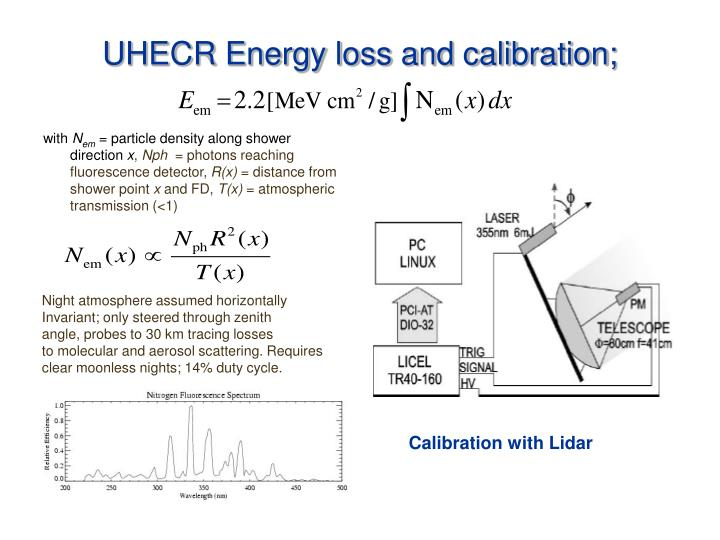 UHECR Energy loss and calibration;