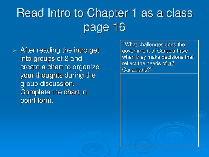 Read Intro to Chapter 1 as a class page 16