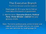the executive branch the prime minister and the cabinet
