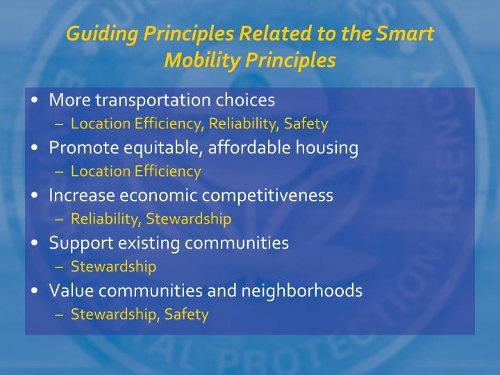 Guiding Principles Related to the Smart Mobility Principles