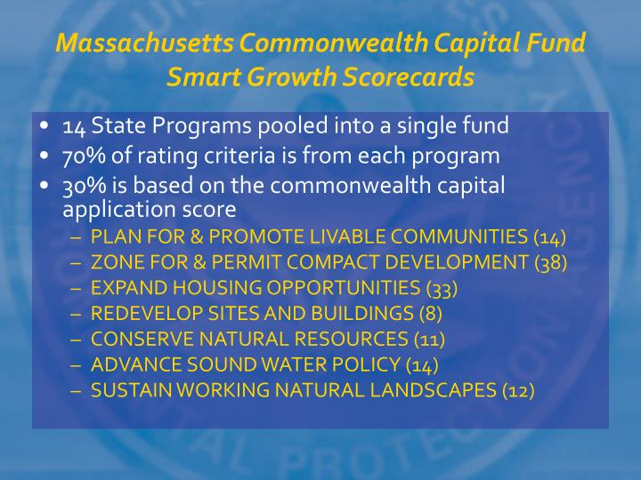 Massachusetts Commonwealth Capital Fund Smart Growth Scorecards