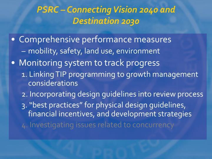 PSRC – Connecting Vision 2040 and Destination 2030