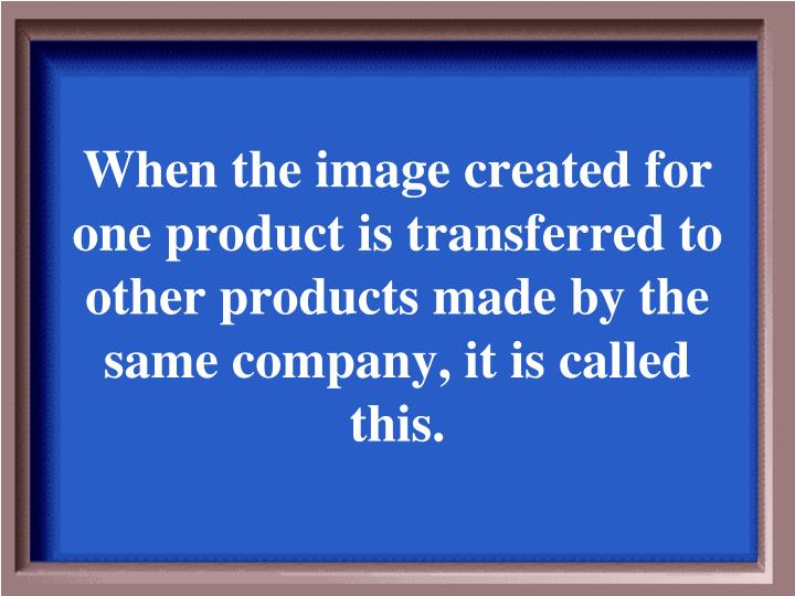 When the image created for one product is transferred to other products made by the same company, it is called this.