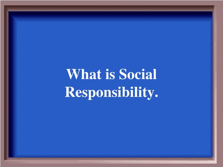 What is Social Responsibility.