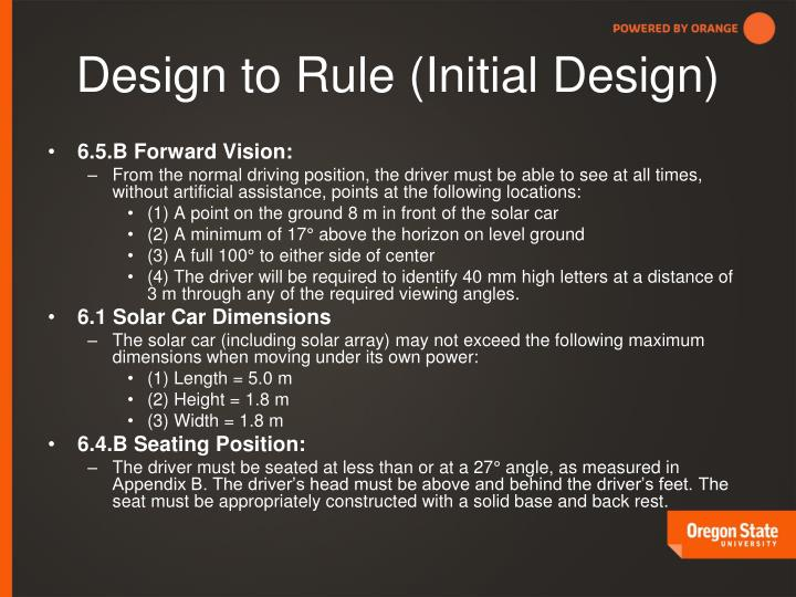 Design to Rule (Initial Design)