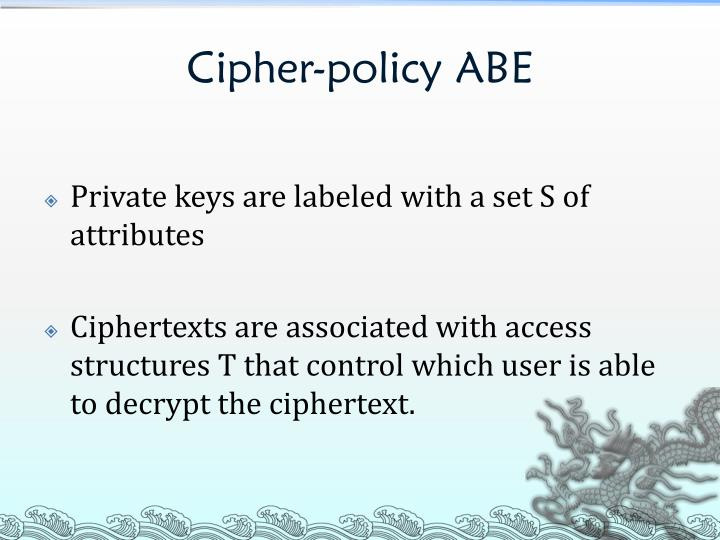 Cipher-policy ABE
