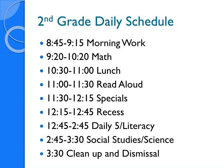 2 nd grade daily schedule
