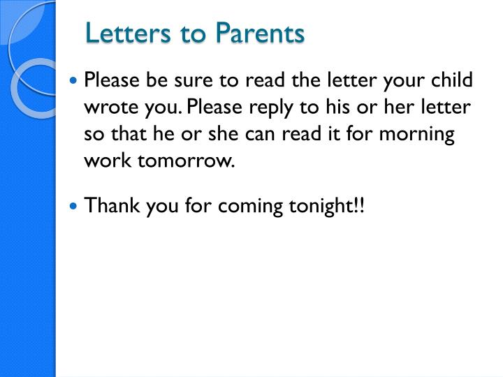 Letters to Parents