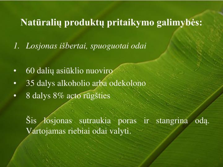 Natūralių produktų pritaikymo galimybės: