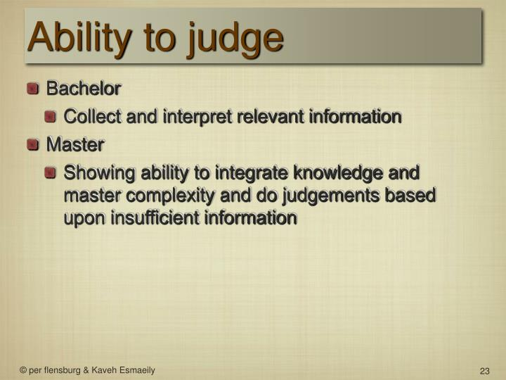 Ability to judge