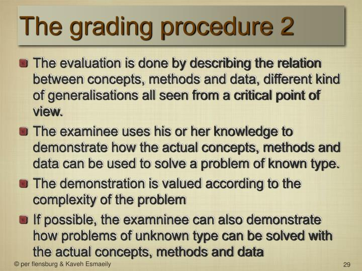 The grading procedure 2