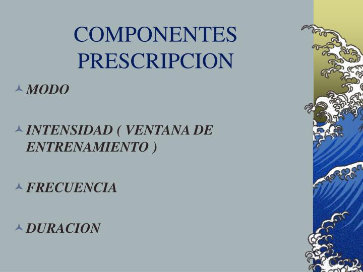 COMPONENTES PRESCRIPCION