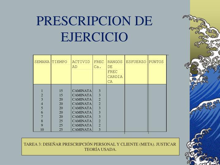 PRESCRIPCION DE EJERCICIO
