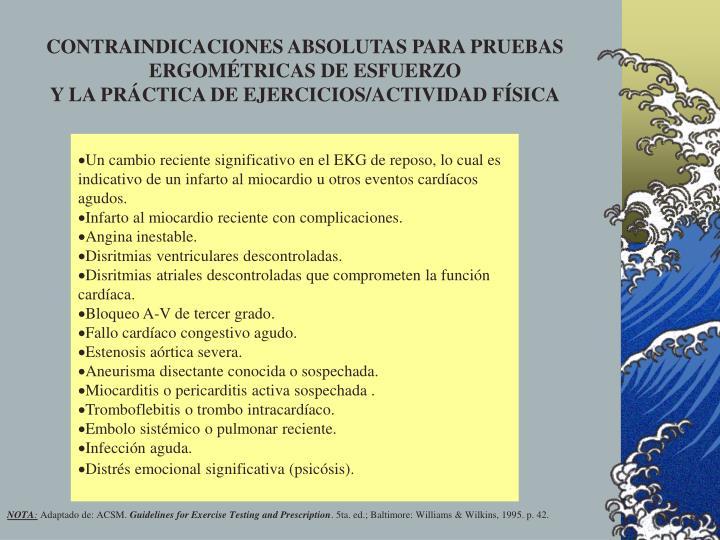 CONTRAINDICACIONES ABSOLUTAS PARA PRUEBAS ERGOMÉTRICAS DE ESFUERZO