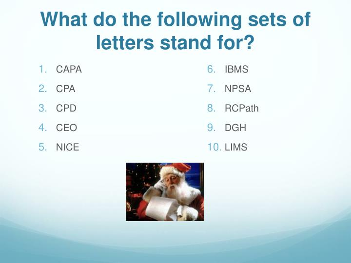 What do the following sets of letters stand for