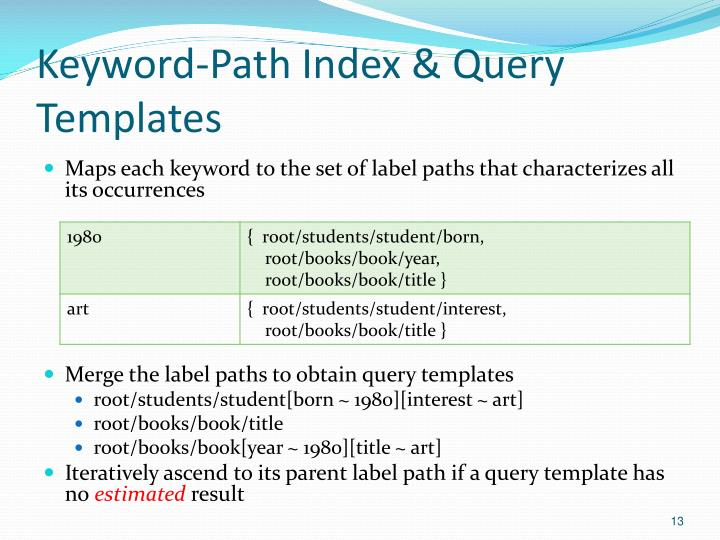 Keyword-Path Index & Query Templates