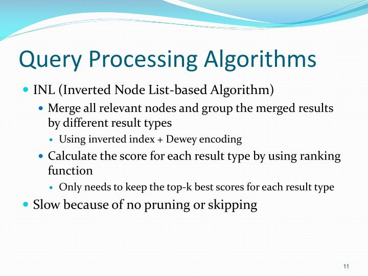 Query Processing Algorithms