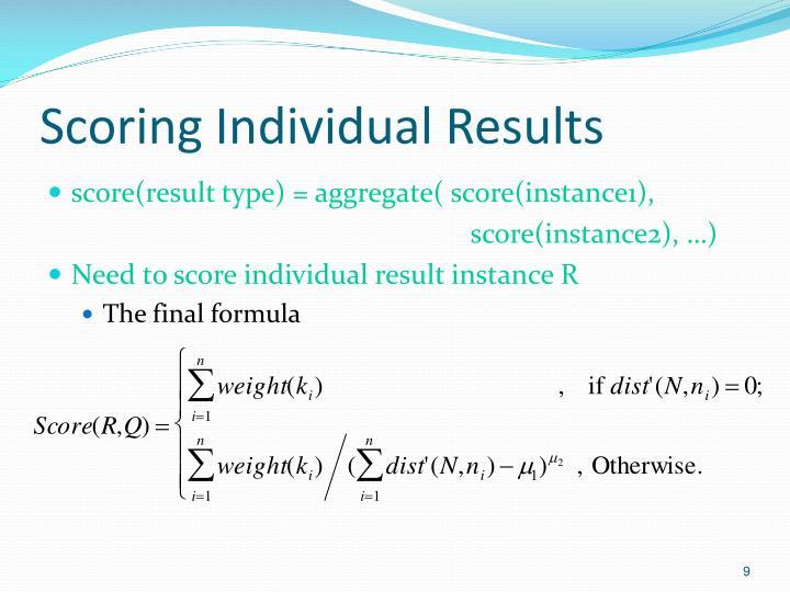 Scoring Individual Results