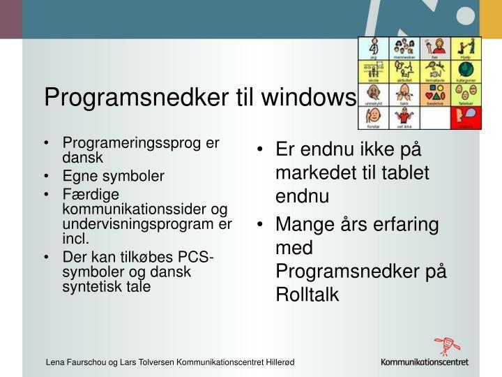 Programsnedker til windows