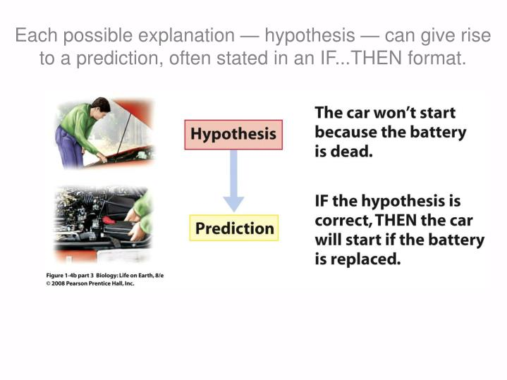 Each possible explanation — hypothesis — can give rise to a prediction, often stated in an IF...THEN format.