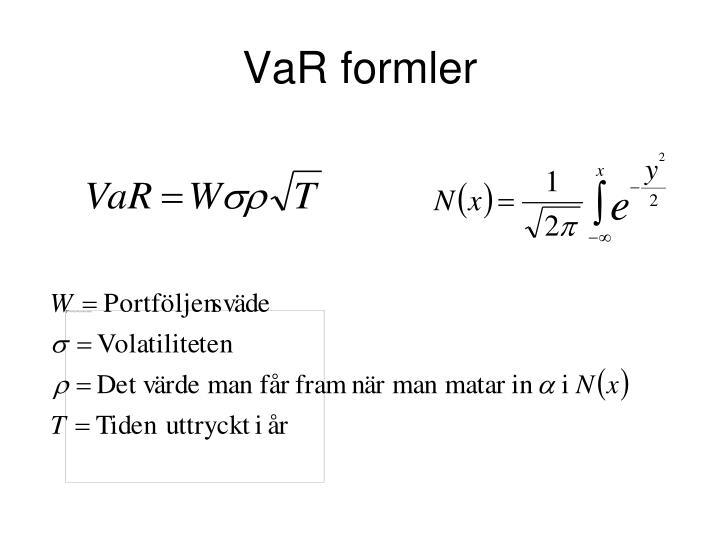 VaR formler