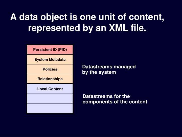 A data object is one unit of content, represented by an XML file.