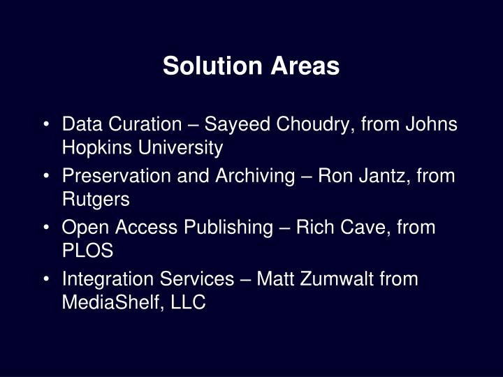 Solution Areas