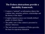 the fedora abstractions provide a durability framework